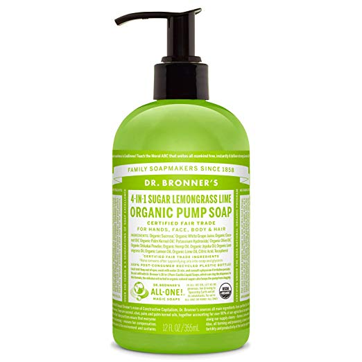Dr. Bronner's Organic Lavender Sugar Soap. 4-in-1 Organic Pump Soap for Home and Body (12 oz).
