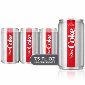 Diet Coke Mini-Can, 7.5 Fluid Ounce (Pack of 6)