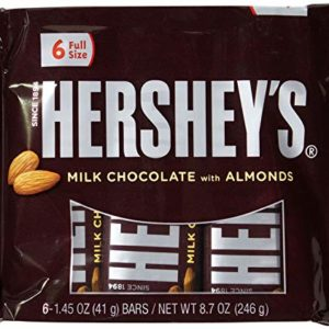 Hershey's Milk Chocolate Bars with Almonds, 6-Count, 1.45-Ounce Bars