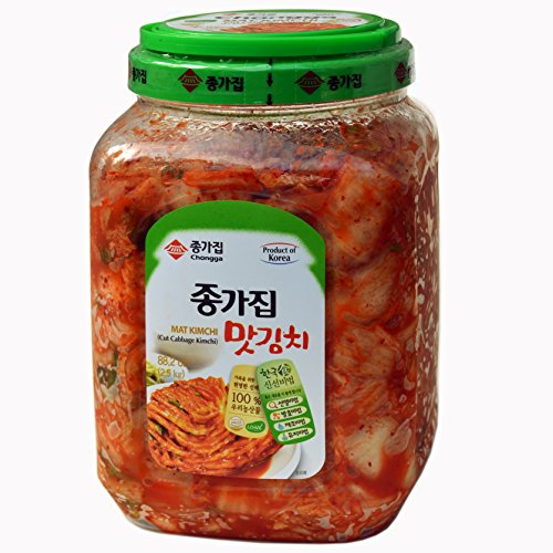 Chongga Mat Kimchi - 88 oz. (2.5 kg) Imported from Korea - Kosher Certified - Cut Cabbage Kimchi - Halal - Vegan - Probiotic