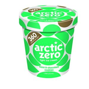 Pack of 6, Arctic Zero Light Ice Cream, Mint & Chocolate Cookies Pint