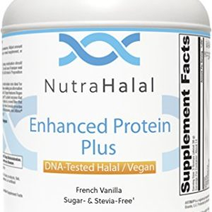 NutraHalal Enhanced Protein Powder Plus - Halal DNA Tested - Vegan, Sugar and Stevia Free - (French Vanilla)