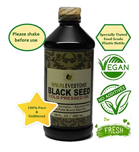 Pure Black Seed Oil - 16oz - 100% Pure and Cold Pressed Black Seed - Non-GMO and Vegan - Nigella Sativa -100% Hexane Free - Halal Certified - Special Food Grade Plastic Bottle