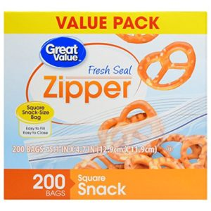 Great Value Zipper Square Snack Bags Value Pack, 200 count