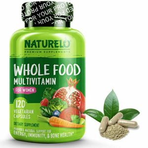 NATURELO Whole Food Multivitamin for Women - Natural Vitamins, Minerals, Raw Organic Extracts - Best Supplement for Energy and Heart Health - Vegan - Non GMO - 120 Capsules
