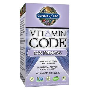 Garden of Life Vitamin Code Raw Prenatal Vegetarian Multivitamin Supplement with Folate, Iron, Probiotics & Ginger   Non-GMO, Dairy & Gluten Free, Best Whole Food Vitamin for Mom & Baby, 30 Capsules