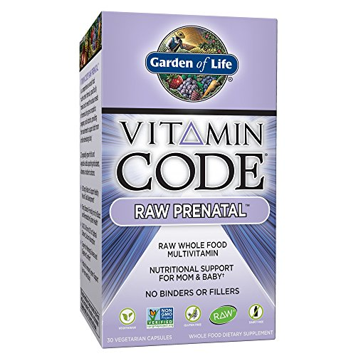 Garden of Life Vitamin Code Raw Prenatal Vegetarian Multivitamin Supplement with Folate, Iron, Probiotics & Ginger | Non-GMO, Dairy & Gluten Free, Best Whole Food Vitamin for Mom & Baby, 30 Capsules