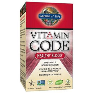 Garden of Life Iron Supplement - Vitamin Code Healthy Blood Raw Whole Food Vitamin, Vegan, 60 Capsules