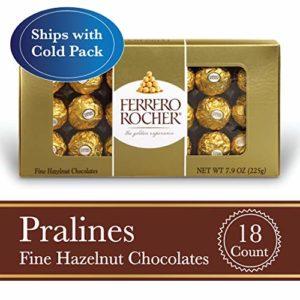 Ferrero Rocher Fine Hazelnut Milk Chocolate, 18 Count, Chocolate Candy Gift Box, 7.9 oz
