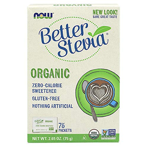 NOW Foods, Certified Organic Better Stevia, Zero-Calorie Sweetener, Gluten-Free, Certified Non-GMO, 75 Packets