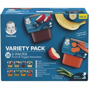 Gerber Purees 2nd Foods Veggie and Fruit Variety Pack, 16 Count