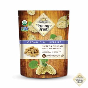 ORGANIC Turkish Dried Mulberries - Sunny Fruit - (5) 1.06oz Portion Packs per Bag | Purely Mulberries - NO Added Sugars, Sulfurs or Preservatives | NON-GMO, VEGAN & HALAL (Pack of 1)