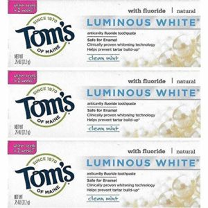Tom's of Maine Natural Luminous White Fluoride Travel Size Toothpaste (3 Tubes)