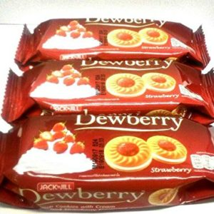 Dewberry Sandwich Cookies with Cream and Strawberry Flavoured Jam Net Wt 36 g. X 3 Bags by Thai Premium