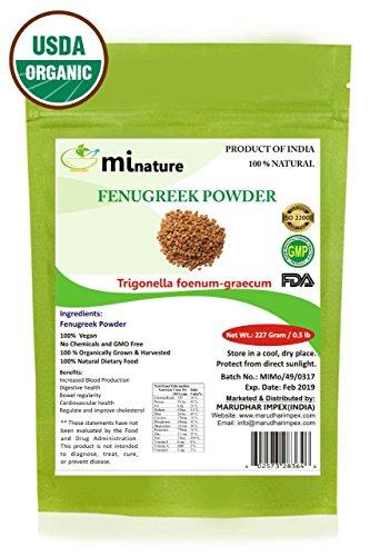 mi nature USDA CERTIFIED Organic Fenugreek Powder (TRIGONELLA FOENUM)(100% NATURAL, ORGANICALLY GROWN) (227g / (1/2 lb) / 8 ounces) - Resealable Zip Lock Pouch