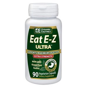 Eat E-Z Ultra (90 vegan capsules) Extra strength complete digestive enzyme supplement; Anti-bloating; Gut health.