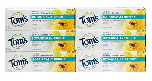Tom's of Maine, Natural Fluoride Free Botanically Bright Whitening Toothpaste, Natural Toothpaste, Toothpaste, Peppermint, 4.7 Ounce, 6-Pack