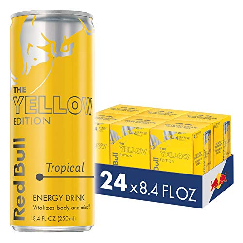 Red Bull Energy Drink, Tropical, 24 Pack of 8.4 Fl Oz, Yellow Edition (6 Packs of 4)