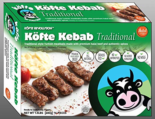 Halal, Premium Black Angus Beef, All Natural, Grass Feed KÖFTE KEBAB Traditional - 1.5 lbs, 16 pieces (Frozen)