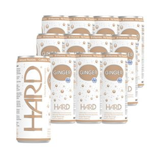 HARD GINGER 12 Pack Caffeinated Low Calorie Non-Alcoholic Natural Craft Sparkling Beverage Kosher Made in USA- 12Pack 8.4 Fl oz. Cans