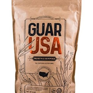 Guar Gum Powder 100% USA made!!! Food grade,100% Natural, Gluten Free & Vegan. Made from USA grown Guar Beans, Kosher & Halal certified. Perfect for baking, cooking & Ice cream making. (16 OZ)