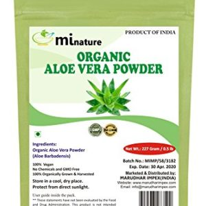 100% Organic Aloe Vera Powder USDA CERTIFIED by mi nature - 8 OZ / 227 g / 1/2 lb | Aloe Barbadensis | Vegan | Non GMO