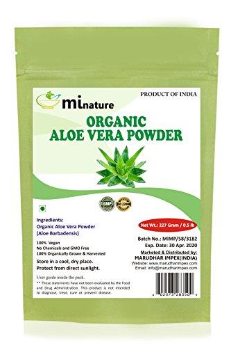 100% Organic Aloe Vera Powder USDA CERTIFIED by mi nature - 8 OZ / 227 g / 1/2 lb | Aloe Barbadensis | Vegan | Non GMO