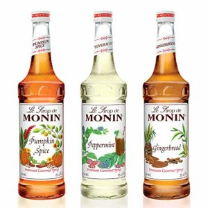 Monin - 3 Flavor Holiday Gift Set: Gingerbread, Peppermint, and Pumpkin Spice Syrups, Natural Flavors, Great for Cocktails, Cocoas, Mochas, and Ciders, Vegan, Non-GMO, Gluten-Free (750 ml per bottle)