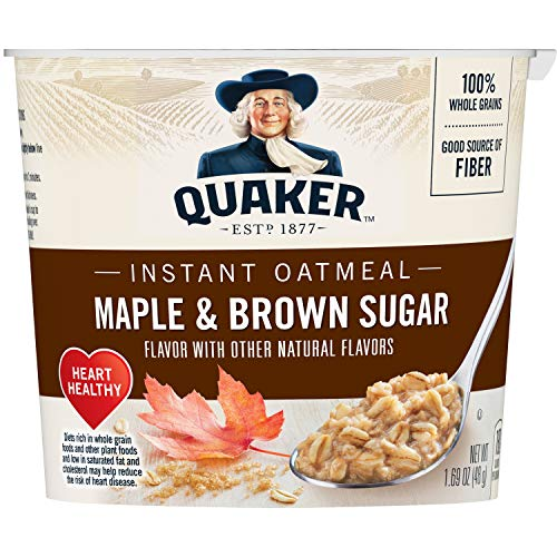 Quaker Instant Oatmeal Cups, Maple & Brown Sugar, 1.69oz Cup, 12 Ct