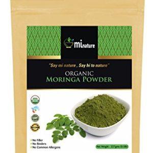 mi nature USDA Certified Organic Moringa Leaves Powder, Indian Sigru, Moringa Oleifera Pure, Natural and Organic - Ayurvedic Herbal Supplement, in OXO/Biodegradable resealable Zip Lock Pack