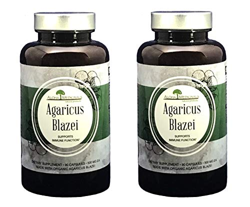 Aloha Medicinals - Pure Agaricus Blazei - Certified Organic Mushroom - Natural Health Supplement - Supports Cardiovascular, Liver, Gut, Joint, Energy Health - Insulin, Cholesterol Control - (2 Pack)