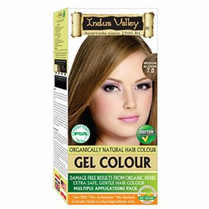 Indus Valley Permanent Gel Hair Color Medium Blonde 7.0 (Upto 4 Applications) with Orange Aroma