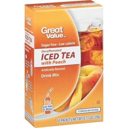 Great Value: Decaffeinated Iced Tea with Peach Drink Mix, .71 Oz (Pack of 2)