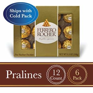 Ferrero Rocher Fine Hazelnut Milk Chocolate, 12 Count, Pack of 6 Individually Wrapped Chocolate Candy Gift Boxes, 5.3 oz