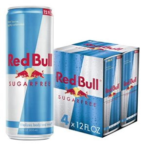 Red Bull Energy Drink Sugar Free 4 Pack of 12 Fl Oz, Sugarfree