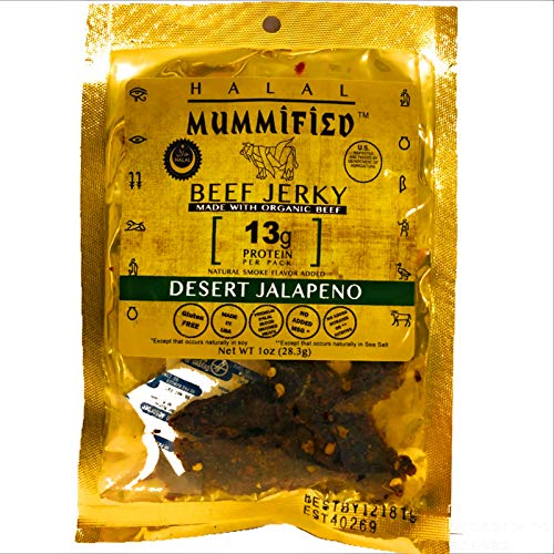 Mummified Organic Halal Beef Jerky (Desert Jalapeño 4 x 1oz packs)