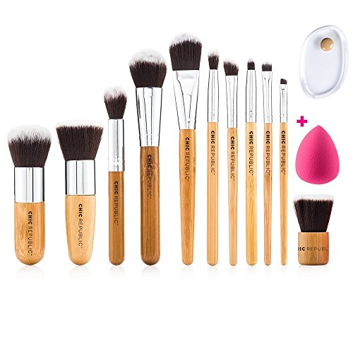 NEW 11 Piece Professional Makeup Brush Set with Premium Synthetic Hair and Natural Bamboo handles for Face, Cheeks and Eyes, plus includes a BONUS Complexion Beauty Sponge Blender!