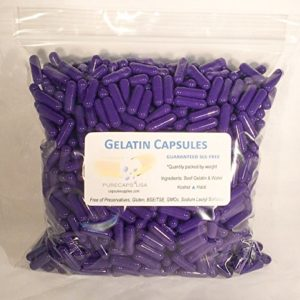 1000 Purple Colored Empty Gel Gelatin Capsules ~Size 0 ~ Colored Purple (Kosher/ Halal)