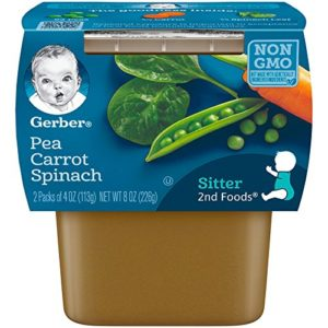 Gerber 2nd Foods Pea Carrot Spinach Baby Food, 4 Ounce Tubs, 2 Count (Pack of 8)