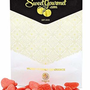 SweetGourmet Gummi Sugar Strawberry Hearts | Pink and Red Sanded Candies | Valentine's Day Candy | Halal | Bulk Unwrapped | 15 OZ