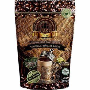 Ottoman Style Turkish Dibek Handmade Grounded Coffee Terebinth Halal - Seven Flavors in One, Soft Coffee