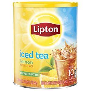 Lipton Black Iced Tea Mix Decaf Lemon Sweetened 10 qt, pack of 6