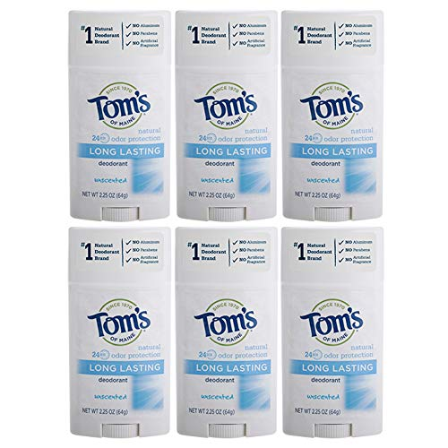 Tom's of Maine Natural Deodorant Stick, Unscented, 2.25 Ounce, Pack of 6