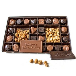 Lang's Chocolates Milk and Dark Chocolate Sampler Holiday Box 1 pound assorted chocolates