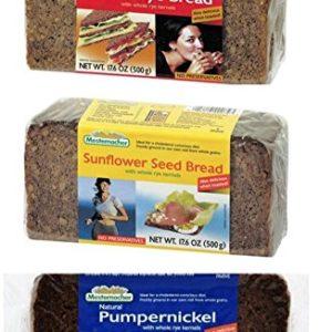 Mestemacher Natural High Fiber Bread 3 Flavor Variety Bundle: (1) Whole Rye, (1) Pumpernickel, and (1) Sunflower Seed, 17.6 Oz. Ea. (3 Total)