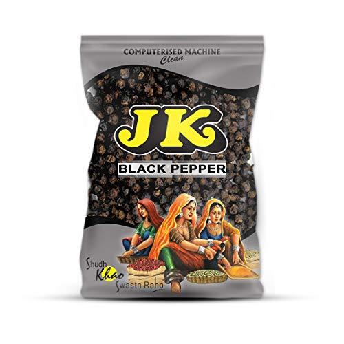 JK BLACK PEPPER PEPPERCORNS 3.53 Oz, 100g (Indian Black Pepper Whole) Non-GMO and NO preservatives!