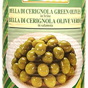Cannone, Green Olives in Brine, with Pits, Imported from the Province of Foggia, Italy, 140.8 oz