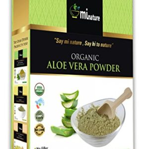 100% USDA Certified Organic Aloe Vera Powder by mi nature - 8 OZ/227 g/1/2 lb | Aloe Barbadensis for Hair, Skin Health Supplements | Vegan | Non GMO