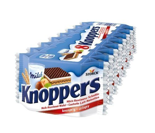 Knoppers 8-pack by Storck wafer 7 oz (pack of 2 )