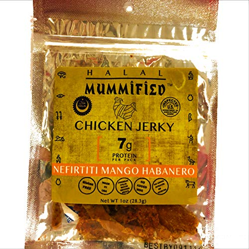 Mummified Halal Chicken Jerky (Nifirtiti Mango Habanero, 5 x 1oz packs)